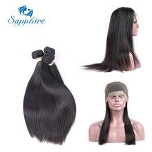 Сапфир прямо Реми Человеческие волосы Связки с 360 Накладные пряди на кружеве для передней части головы Накладные волосы 1B # Цвет для волос Salon соотношение длинные волосы РСТ 30%