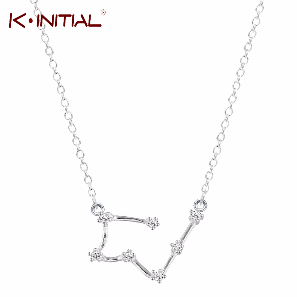 Kinitial 925 Sterling Silver Pendants Necklaces Taurus Zodiac Sign Astrology Constellati ...