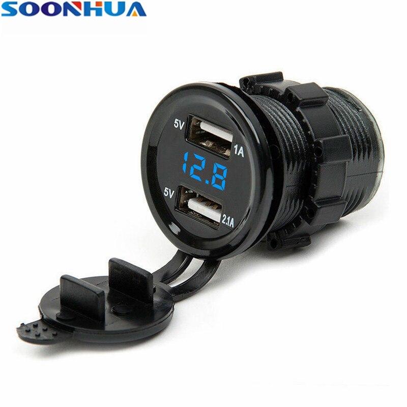 SOONHUA 2 USB Output Car Charger Cigarette Lighter Socket Plug LED Voltmeter Waterproof Mobile Phone Smart Charging Adapter