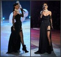 Rihanna Black Strapless Prom Party Gown Fashion Show Celebrity Dresses High Side Split Up Abendkleider Long