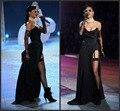 Rihanna preto sem alças Prom Party vestido desfile de moda celebridade vestidos High Side dividir Abendkleider longo sexy 2016