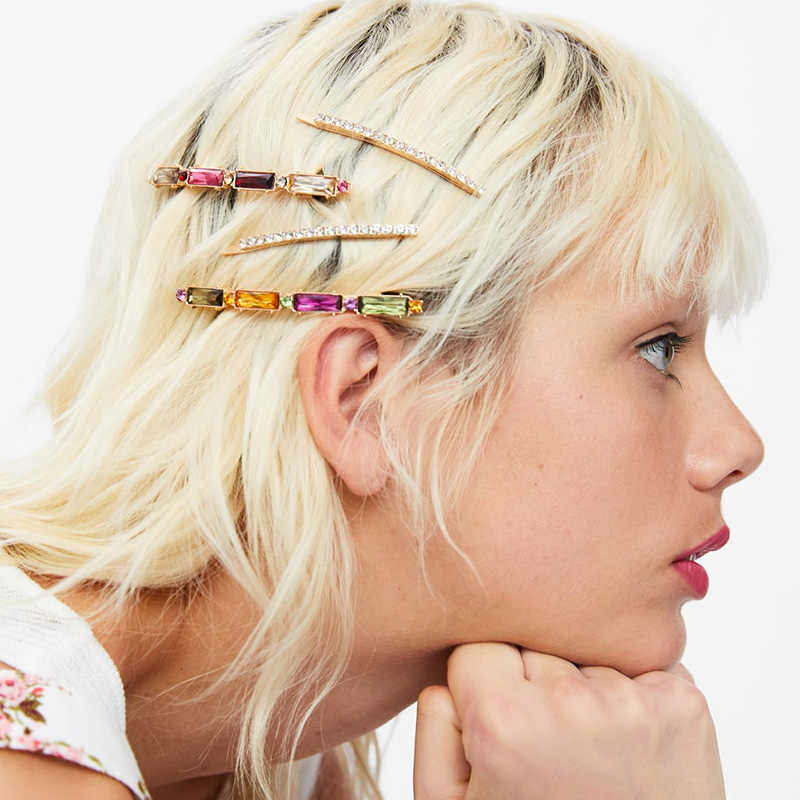 JUJIA נשים הניצוץ קריסטל ריינסטון סיכות סיכות ילדה חמוד אננס שיער קליפים Hairgrip za שיער אבזרים