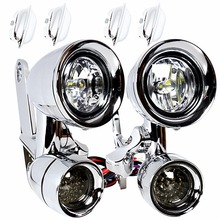 Chrome LED Fairing Mounted Driving Lights&LED Smoked Turn Signals For Harley Touring Electra Street Glide Road King 1996-2013