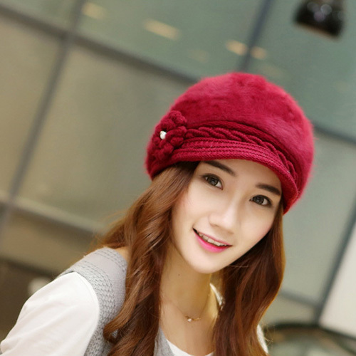 elegant winter thermal hats for girl rabbit cute design fast delivery women  hat knitted flower pink 6a85aa7f81b