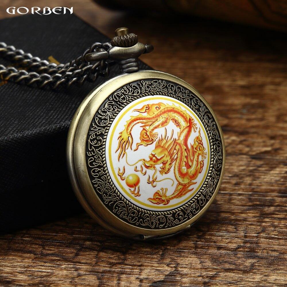 Retro China Traditionele Cultuur Pocket Warch Mens Golden Dragon Spelen met een Parel Patroon Lucky Symbol Dameshorloge Geschenkset