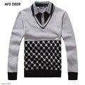 2016 Nuevas Marcas de Alta Calidad Equipo de punto Jumper Sweater Pullover Hombres de Algodón de Empalme de La Moda Suéter hombres Ocasionales KLZ013