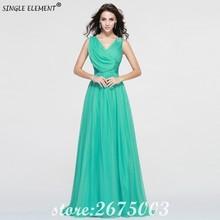 цена на SINGLE ELEMENT Pleated Green Chiffon Simple Long Bridesmaid Dress V Neck