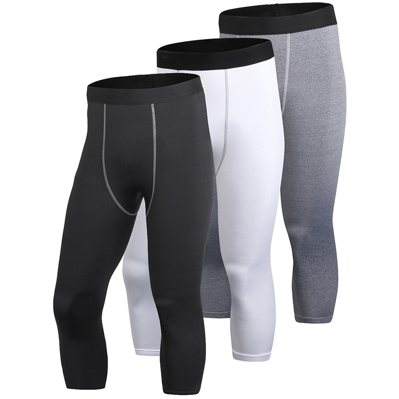 YD 3PCS Gym 3/4 Leggings Pants Compression Tights Quick Dry Leggings Hombre Fitness Trousers Sweat Bodybuilding Running Pants