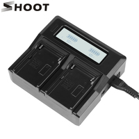 SHOOT Double Channel Battery Charger for Sony NP F550 F750 F970 with LCD Display Screen Battery Charger for Sony Digital Camera