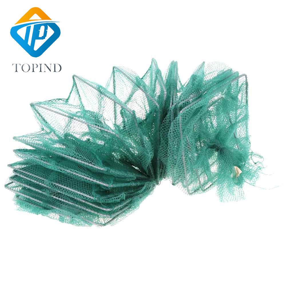 3pcs 10m Foldable Nylon Crab Shrimp Minnow Fishing Cage Trap Dip Net Portable Fishing Mesh 33x23cm Tackle Accessories quality gill net h5 l95m 3layer 3 5 and 19cm mesh sink net fish trap sticky fishing net outdoor pesca reservoir fishing network