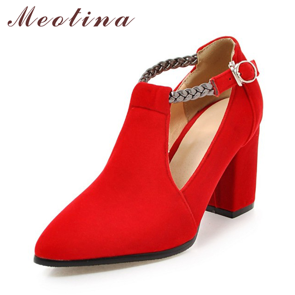 Meotina High Heels Women Pumps Thick Heel Ladies Shoes Pointed Toe Ankle Strap Female Autumn Shoes