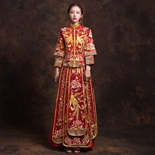 2018 new spring and summer bride dress wedding dragon Phoenix gown female toast outfit Golden Red Long 3 Quarter Sleeve Uniform