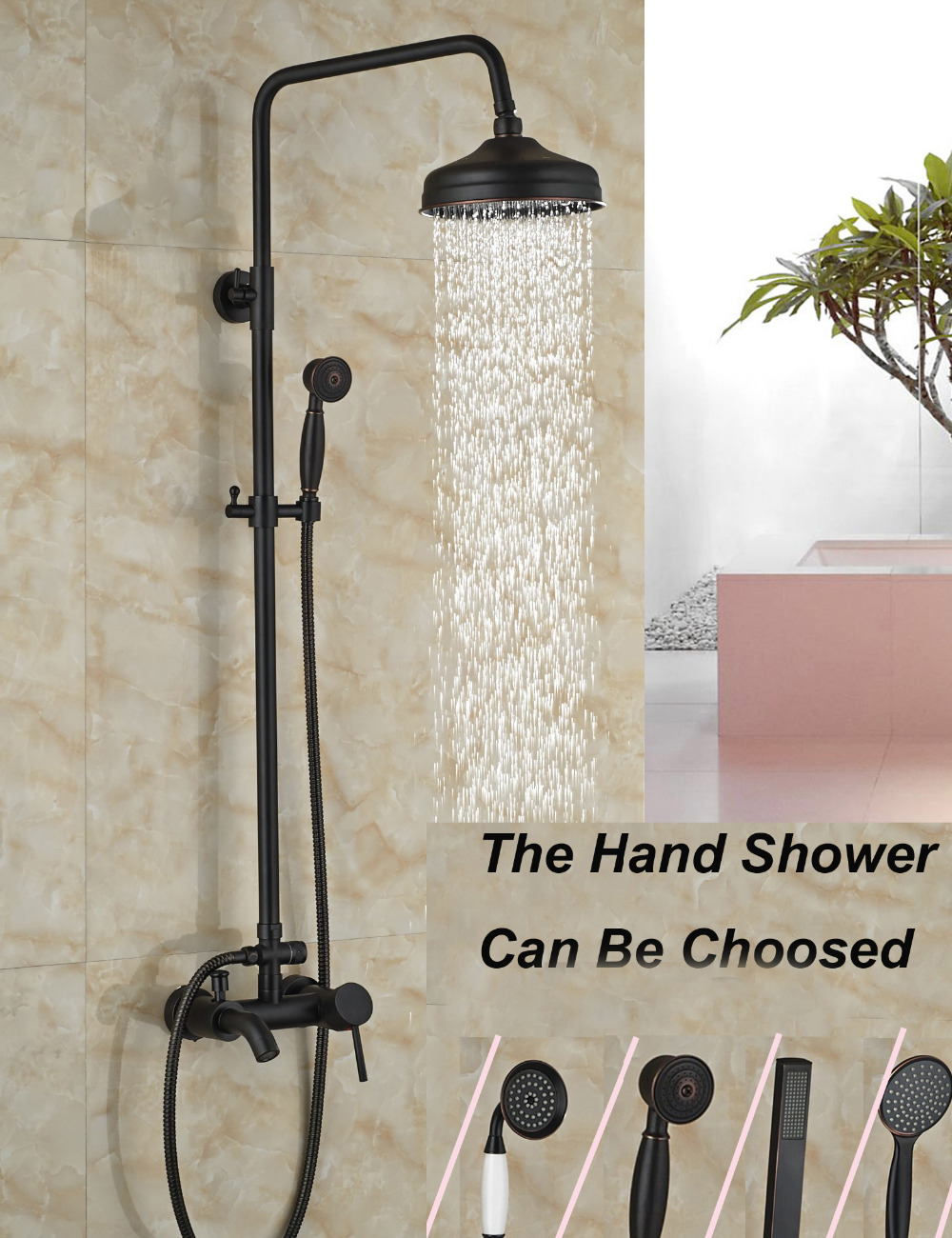 Wholesale And Retail Luxury Oil Rubbed Bronze 8 Round Rain Shower Head Tub Spout Valve Mixer Tap W/ Hand Sprayer modern wall mounted round 8 rain shower head valve mixer tap oil rubbed bronze