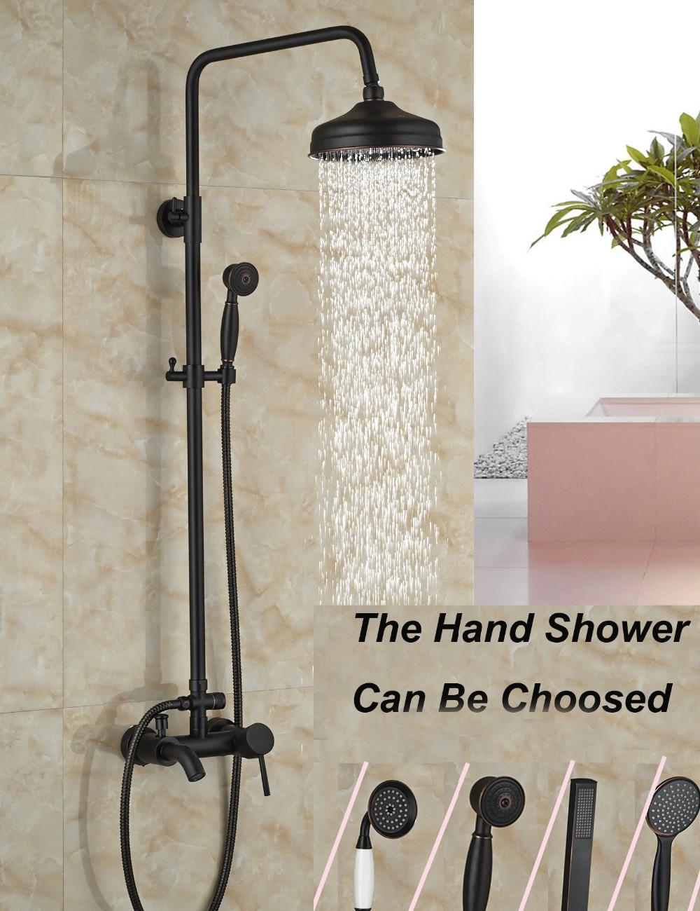 Wholesale And Retail Luxury Oil Rubbed Bronze 8 Round Rain Shower Head Tub Spout Valve Mixer Tap W/ Hand Sprayer