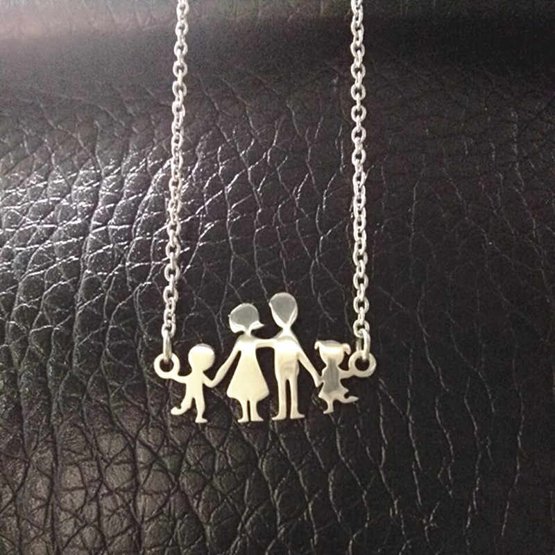 Stainless Steel Girls Boys Necklace Women Mama Kids Neckless Jewelry Accessories Silver Color Family Necklaces Jewerly