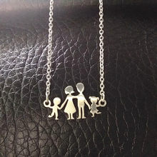 Stainless Steel Girls Boys Necklace Women Mama Kids Neckless Jewelry Accessories Silver Color Family Necklaces Jewerly(China)