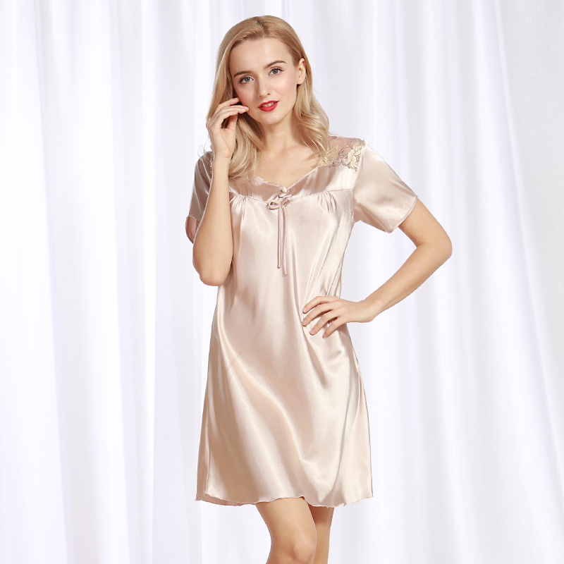 Women Fashion Silk Satin   Nightgown   Short Sleeve   Sleepshirt   Round Neck Home Dress Lace Sleeping Dress Summer Nightdress