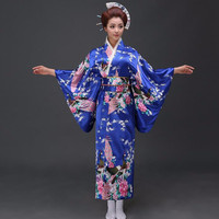 National Trends Women Sexy Silk Satin Kimono Yukata With Obi Novelty Evening Dress Japanese Cosplay Costume