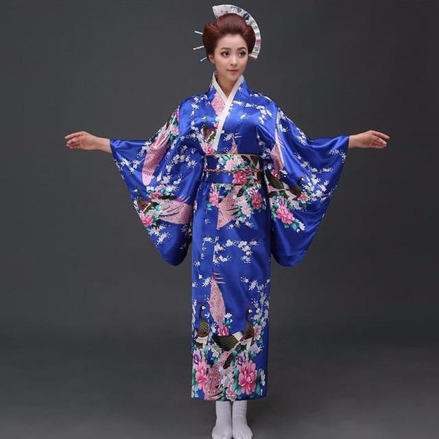 Milli Eğilimler Kadın Seksi Ipek Saten Kimono Yukata Ile Obi Yenilik Akşam Elbise Japon Cosplay Kostüm Çiçek Bir Boyut