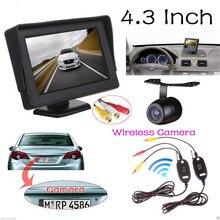 """4.3 """"TFT LCD 480×272 Coche Retrovisor Monitor + Waterproof 420 Líneas de TV CCD de Copia de seguridad Aparcamiento Cámara + Kit de Transmisor Receptor Video"""