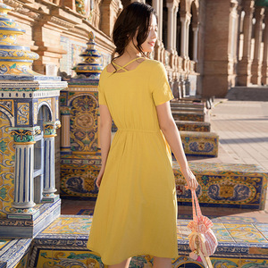 Image 3 - INMAN Summer Wear New Round Neckline High Waist Belt Show Thin Short sleeved Dress Medium Length Dress
