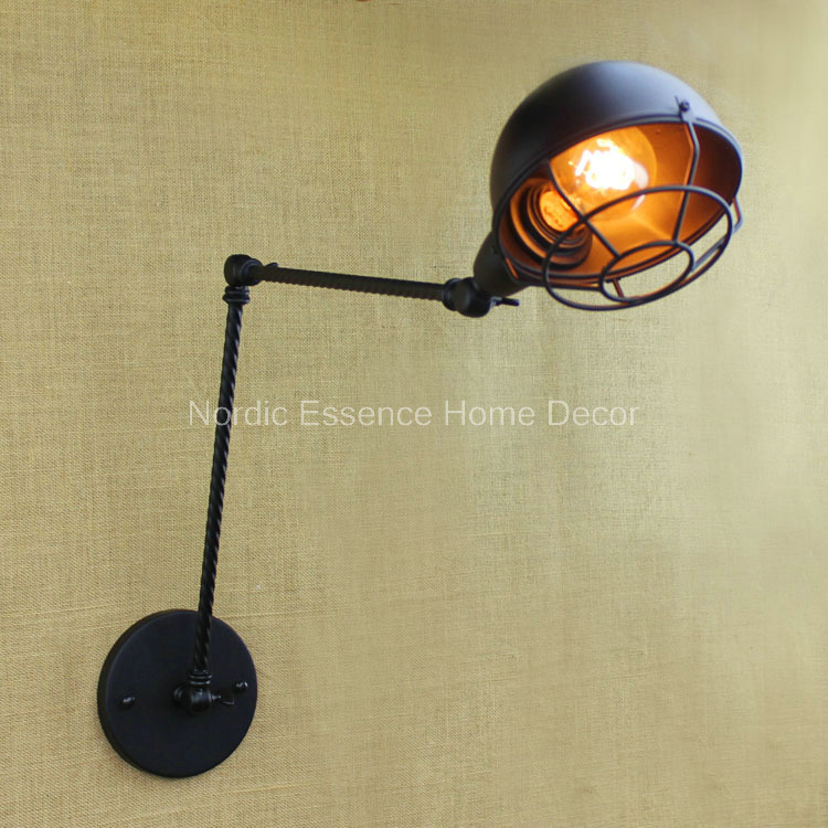 American industrial-style wrought iron retro original long arm Industrial Wall Lighting double Wall decoration free  shipping american creative fashion led the study bedroom mirror before the long arm of the head of a bed wall lamp wrought iron long arm