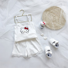 Summer Children Short Pajamas Sets 2019 Cute Cat Print Home Sleepwear Suit Baby Girls Strap Top and Short Pant Kids Home Clothes pajama sets frutto rosso for girls tk117g044 sleepwear kids home suit children clothes