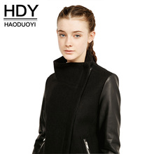 HDY Haoduoyi Solid Black Overcoat Women Fashion Contrast Bomber Jacket Casual Streetwear Girl Coats PU Leather Women Outwears