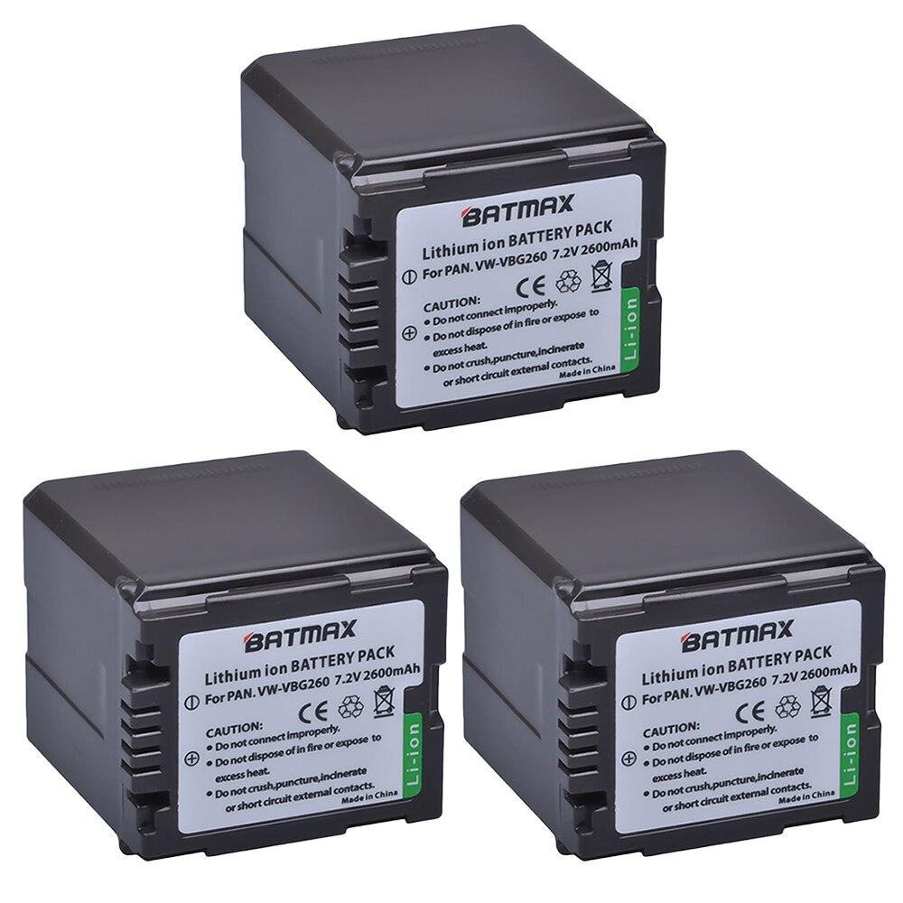 3Pcs 2600mAh VW-VBG260 VW VBG260 VWVBG260 VW-VBG130 VBG130 Camera Battery For Panasonic AG-HMC150 HMC150PJ HMC153MC HMC70 HMR10