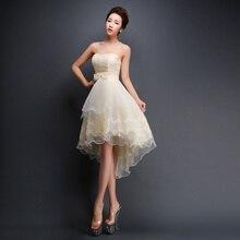 Kısa Balo Elbise Kırmızı Şampanya Sleevesless Abiye hususi günlerinde elbiseler prenses Yay Dantel Up Gelinlik Modelleri FD27