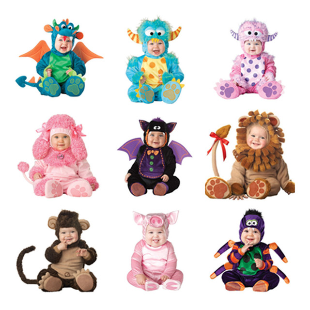 Cosplay Com Capuz Macacões Dragão Macaco Porco Borboleta Abelha Pijama Bebê Crianças Costume Halloween Natal Traje Animal bodysuit