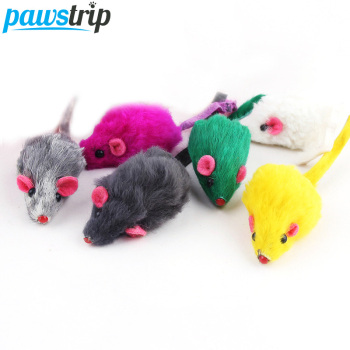 10Pcs/lot Rabbit Fur False Mouse Pet Cat Toys Feather Rainbow Ball Toy Cayts Mini Funny Playing Toys For Cats Kitten 2inch 1