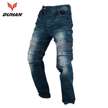 DUHAN Motorcycle Motocross Moto Pants Jeans Motorcycle Long Pants Hip Protector Jeans Trousers with Removeable Protecors for Men
