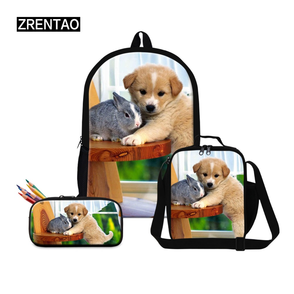 ZRENTAO pupil school backpack set book bags lovely poppy bags with lunch coolers pencil bags double shoulder bags for pupils