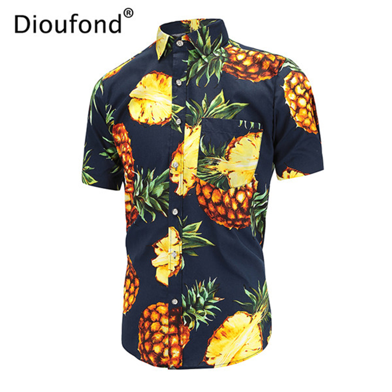 Dioufond Hawaiian Men Shirt Brand Floral Print Mens Summer Shirts Streetwear Loose Casual Short Sleeve Tops 2019