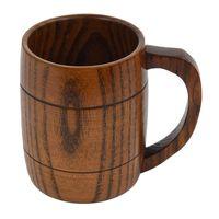 PHFU-Wooden Cup Primitive Handmade Natural Wood Coffee Tea Beer Juice Milk Mug Pattern:H(420Ml)