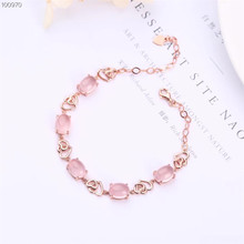 gemstone fine jewelry factory wholesale rose gold 925 sterling silver natural pink crystal adjustable beaded bracelet for female