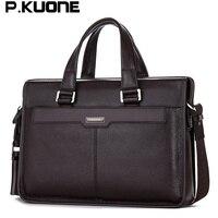 P KUONE Genuine Leather Man Fashion Briefcase High Quality Business Shoulder Bag Casual Travel Handbag Luxury