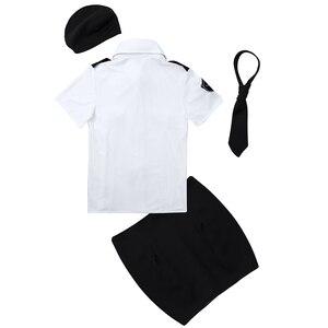 Image 4 - زي تنكري شرطي مثير للسيدات للبالغين ، زي تنكري شرطي ، قميص أبيض ، مع ربطة عنق ، أزياء لعب الأدوار