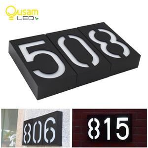 Image 1 - رقم المنزل لوحة الباب الرقمية ضوء الشمس LED علامات عنوان رقم الباب أرقام جدار جبل رقم للمنزل مع البطارية