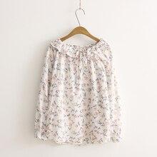 2017 mulheres da moda tops e blusas camisas de algodão mulheres impresso flores blusas do vintage casual tops soltos plus size clothing