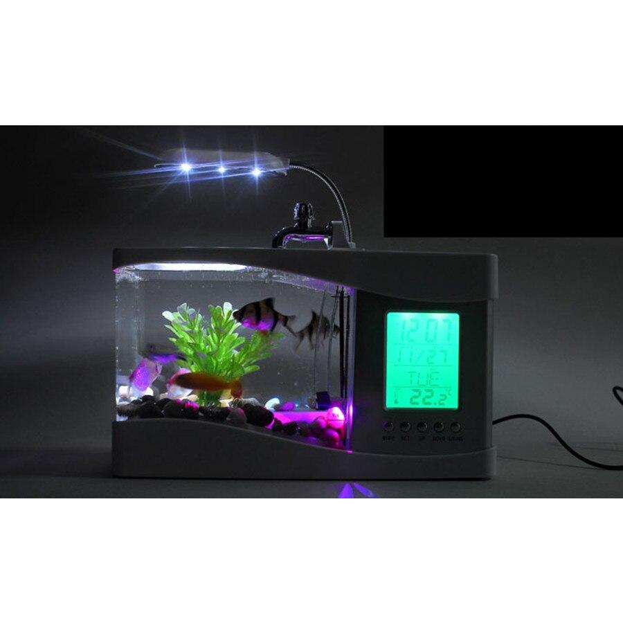 Usb mini aquarium fish tank - Usb Mini Fish Aquarium Tank Desktop Electronic Aquarium Fish Tank With Water Running Led Pump Light Calendar Clock White Black In Aquariums Tanks From