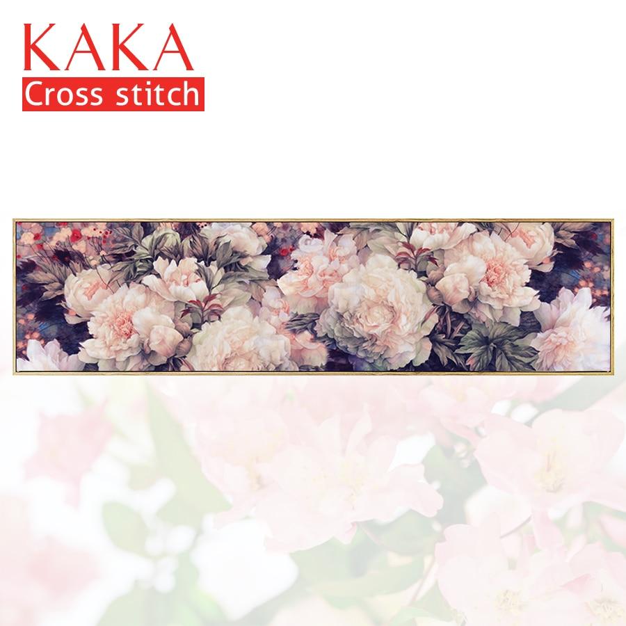 Вышивка крестом наборы, вышивка рукоделие Устанавливает с набивным рисунком, 11CT-5D холсте для домашнего декора картина, цветы CKF0058