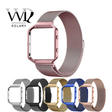 Rolamy Milanese Steel Bracelet Wrist Watch Band Strap Belt Magnetic Closure with Case Metal Frame For Fitbit Blaze 23 watch hot sale hoco 3 colors milanese band for huawei watch 42mm with magnetic closure and beautiful retail package