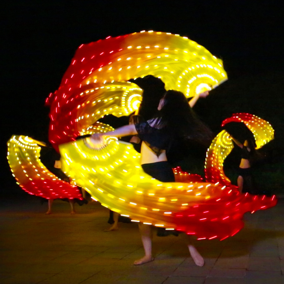 Fire Performance Belly Dance LED Fans 180cm Props Belly Dance Accessories Strong Lights Hand Veil Fans