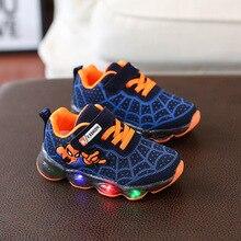 Светодиодный легкий Человек-паук детская обувь для мальчиков и девочек легкие блестящие новые дышащие кроссовки для бега на улице