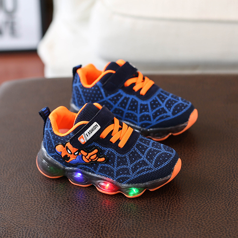 LED Light Spiderman Children's Shoes Boys And Girls Lightweight Shining New Breathable Sneakers Outdoor Running Sneakers