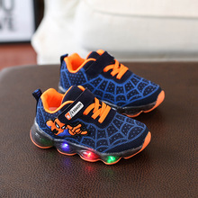 LED Light Spiderman Childrens Shoes Boys and Girls Lightweight Shining New Breathable Sneakers Outdoor Running