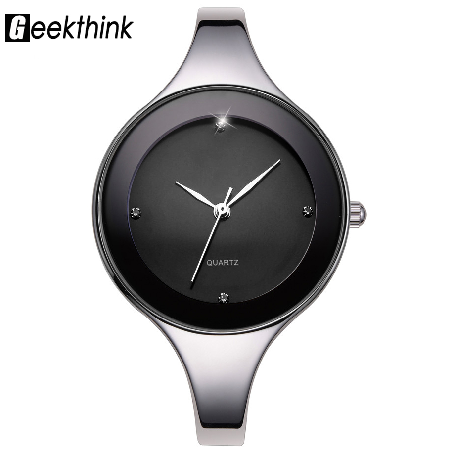 Geekthink luxury brand fashion quartz watch women ladies stainless steel bracelet watches casual for Casual watches
