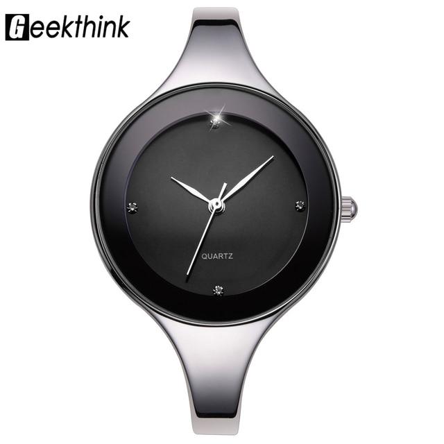 546f33ea029 GEEKTHINK Marca de Luxo Da Moda Relógio de Quartzo Das Senhoras Das Mulheres  Pulseira de Aço